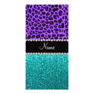 Brillo púrpura conocido personalizado de la turque tarjeta con foto personalizada