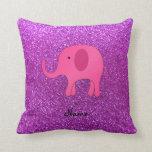 Brillo púrpura conocido personalizado del elefante cojin