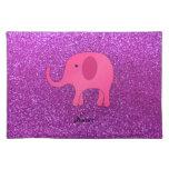 Brillo púrpura conocido personalizado del elefante manteles individuales