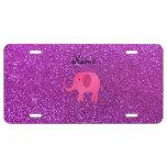 Brillo púrpura conocido personalizado del elefante placa de matrícula
