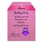 Brillo púrpura conocido personalizado del rosa del invitaciones personalizada