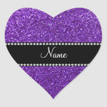 Brillo púrpura conocido personalizado calcomanías corazones personalizadas