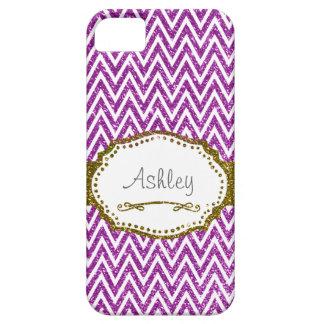 Brillo púrpura de Chevron falso personalizado iPhone 5 Coberturas