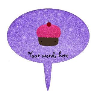 Brillo púrpura de la magdalena rosada del brillo palillos de tarta