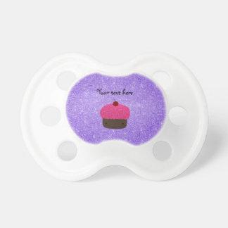 Brillo púrpura de la magdalena rosada del brillo chupetes para bebés