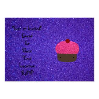 Brillo púrpura de la magdalena rosada del brillo invitacion personal