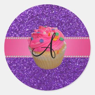 Brillo púrpura de la magdalena rosada del pegatina redonda