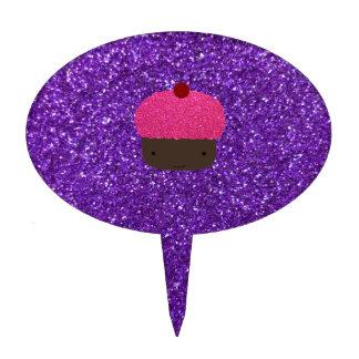 Brillo púrpura de la magdalena rosada linda del br figuras de tarta