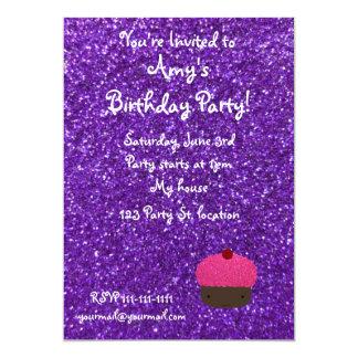 Brillo púrpura de la magdalena rosada linda del invitación 12,7 x 17,8 cm