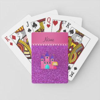 Brillo púrpura de neón del castillo conocido de baraja de cartas