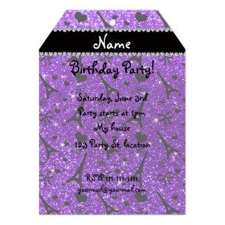 """Brillo púrpura de París del eiffek del añil Invitación 5"""" X 7"""""""