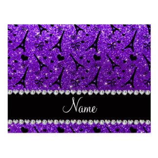 Brillo púrpura de París del eiffek del añil Tarjeta Postal