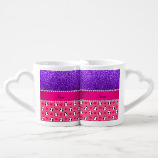 Brillo púrpura del añil rosado conocido de encargo tazas para enamorados