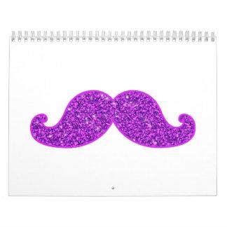 Brillo púrpura del bigote retro femenino de la div calendario