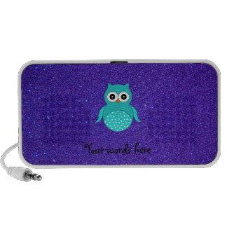 Brillo púrpura del búho de la turquesa iPhone altavoz
