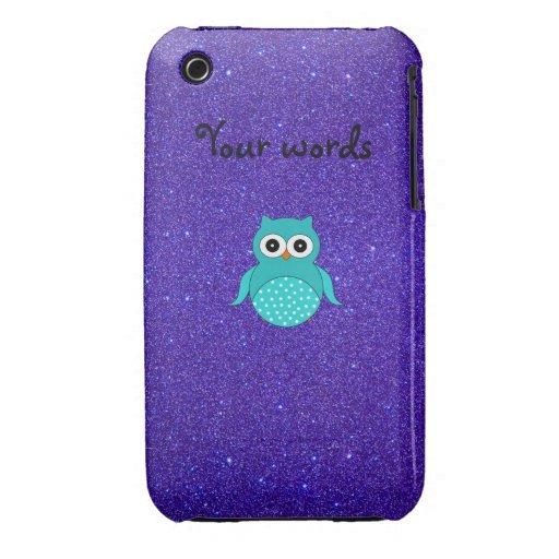 Brillo púrpura del búho de la turquesa iPhone 3 protector
