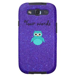 Brillo púrpura del búho de la turquesa galaxy s3 cárcasas