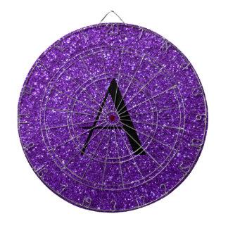 Brillo púrpura del monograma tablero dardos