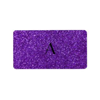 Brillo púrpura del monograma etiqueta de dirección