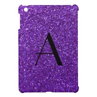 Brillo púrpura del monograma iPad mini cárcasa