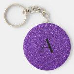 Brillo púrpura del monograma llaveros personalizados