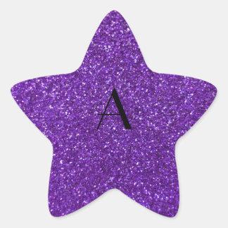 Brillo púrpura del monograma pegatina en forma de estrella