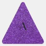 Brillo púrpura del monograma colcomanias triangulo personalizadas