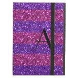 Brillo púrpura del monograma y rayas rosadas