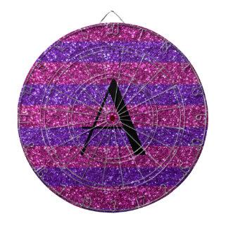 Brillo púrpura del monograma y rayas rosadas tabla dardos