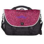 Brillo púrpura del rosa del bigote del brillo bolsas de ordenador