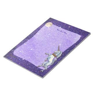 Brillo púrpura del unicornio libreta para notas