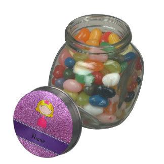 Brillo púrpura en colores pastel personalizado de  jarras de cristal