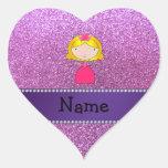 Brillo púrpura en colores pastel personalizado de  pegatinas corazon