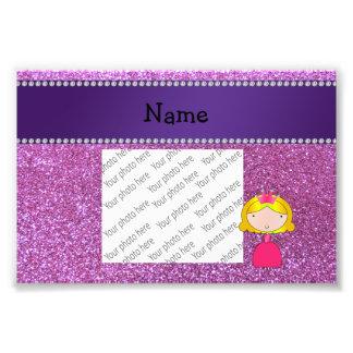 Brillo púrpura en colores pastel personalizado de arte con fotos