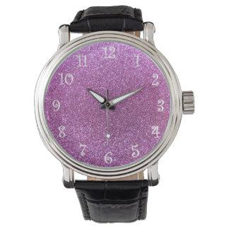 Brillo púrpura en colores pastel reloj