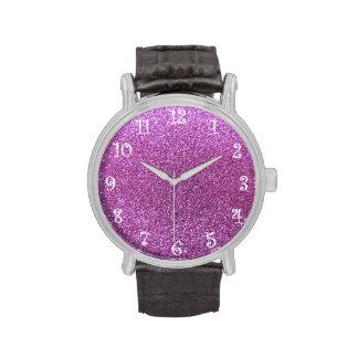 Brillo púrpura en colores pastel relojes de mano