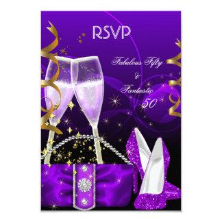 Brillo púrpura fantástico fabuloso de los tacones invitación 8,9 x 12,7 cm