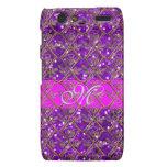 Brillo púrpura femenino del monograma/Casa-de-Gros Motorola Droid RAZR Funda