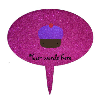 Brillo púrpura lindo del rosa de la magdalena del  figura para tarta