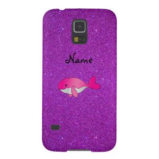 Brillo púrpura personalizado de la ballena rosada carcasa para galaxy s5
