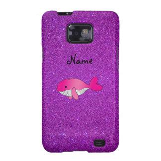 Brillo púrpura personalizado de la ballena rosada samsung galaxy SII fundas