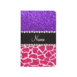 Brillo púrpura personalizado de la jirafa rosada c cuaderno