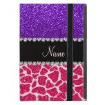 Brillo púrpura personalizado de la jirafa rosada c iPad mini carcasas