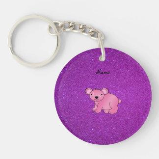 Brillo púrpura personalizado de la koala rosada co llavero redondo acrílico a una cara