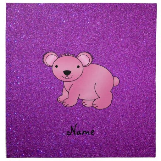 Brillo púrpura personalizado de la koala rosada co servilletas imprimidas