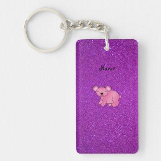 Brillo púrpura personalizado de la koala rosada llavero rectangular acrílico a doble cara