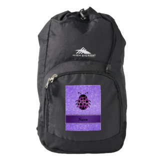 Brillo púrpura personalizado de la mariquita mochila