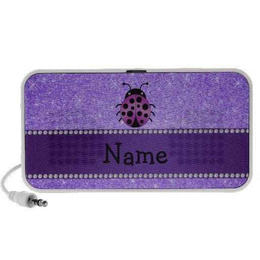 Brillo púrpura personalizado de la mariquita púrpu iPhone altavoces