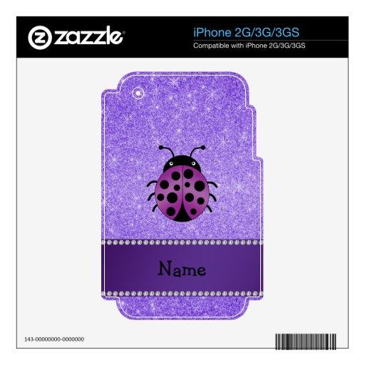 Brillo púrpura personalizado de la mariquita púrpu skins para iPhone 3G