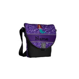Brillo púrpura personalizado de la sirena conocida bolsas messenger
